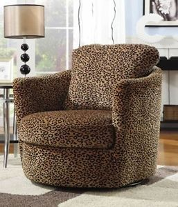Swivel Accent Chair with Leopard Print Living Room Furniture Den Modern