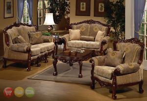 Formal Luxury Sofa Love Seat Chair Table 4 Piece Set Traditional Style HD 94