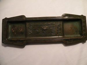 Tiffany Studios Bronze Indian Art Owl Desk Pen Tray Holder