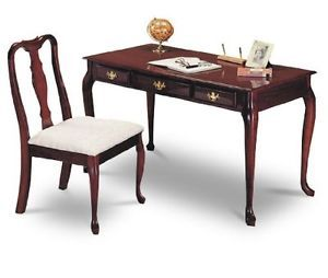 New Elegant Cherry Wood Finish Secretary Writing Computer Desk Wood Chair