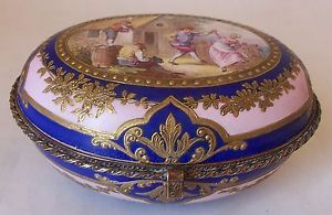 Superb 18th C Louis XVI Sevres Porcelain Dresser Jewelry Box