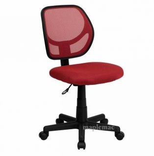 Computer Desk Chair Mid Back Mesh Task Chair Office Chair Red Padded Seat Wheels