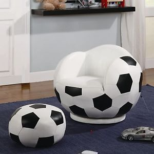 Kids Sports Chairs Small Kids Soccer Ball Chair and Ottoman Coaster 460178