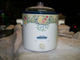 Vintage Rival Country Stoneware Crock Pot Electric Slow Cooker Steamer with Lid