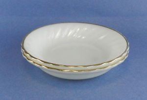 Anchor Hocking Fire King Ovenware Dinnerware 2 Soup Bowls Swirl Gold Rim Vintge