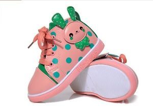 2014 New Kids Baby Toddler Girls Polka Dot Rabbit Mid Top Walking Sneaker Shoes