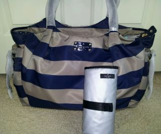 Kate Spade Cambridge Stripe Nylon Stevie Baby Diaper Bag $398