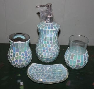 4pc Mosaic Blue Green Glass Toothbrush Holder Soap Dish Dispenser Cup Bath Set