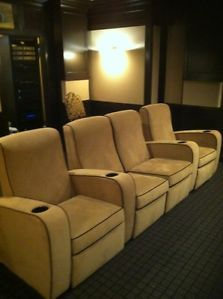 Leathercraft Suede Home Theater Seating Recliners 4 Chairs