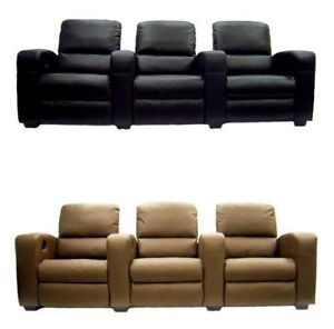 Home Theater Seating Recliner Chair Movie Seats Sofa Top Grain Leather Match