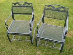 Antique Wrought Iron Metal Outdoor Lawn Patio Spring Bouncy Chairs Vintage 1940s