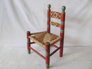 Antique Red Flower Cane Seat Slat Mission Arts Crafts Doll Child Child's Chair