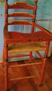 Antique Primitive Hand Painted Rustic High Chair Woven Americana Folk Art RARE
