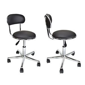 2 Lot Black Salon Stool Chair Tattoo Facial Spa Beauty Leather Hydraulic Massage