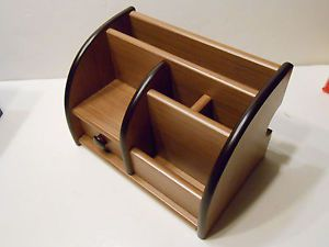 Wooden Desk Organizer with Pen Holder Letter Holder Drawer etc Walnut Color