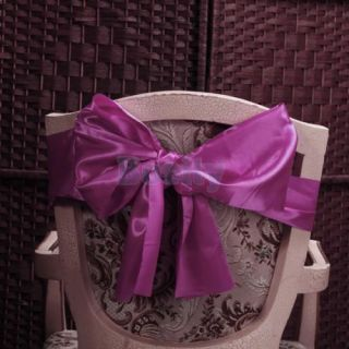 15 Pcs Satin Table Runners Wedding Party Decor Chair Sash Bow Tie Shocking Pink