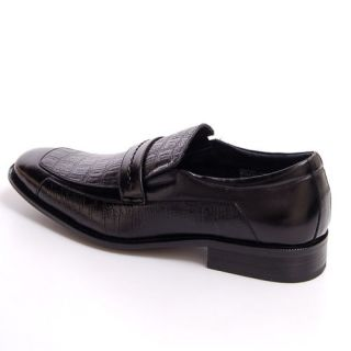 Mens Dress Shoes Leather Slip on Loafers Alligator Print Shoe Horn Dust Covers