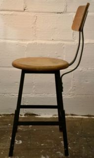 Vintage Wood and Metal Stool Adjustable Height