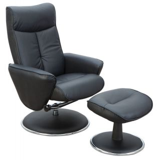 Quattro Black PU Finish Swivel Recliner Chair with Footstool
