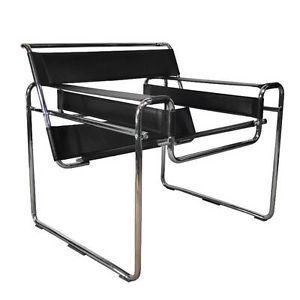 Mid Century Modern Black Leather Chrome Lounge Chair Marcel Breuer Wassily Style