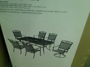New Hampton Bay Santa Maria Patio Dining Set 1 Round Table 6 Chairs TADD