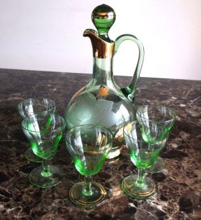 Vintage Antique Green Glass Decanter Pitcher 5 Goblets Etched with Gold Trim