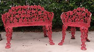 Beautiful Antique Cast Wrought Iron Garden Patio Arm Chair Bench Set