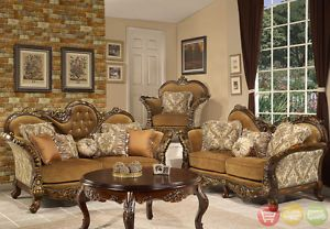 Formal Sofa Loveseat Chair Table 4 Piece Set Antique Style Traditional HD 260