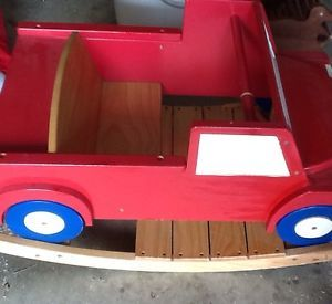 Vintage Solid Wood Kids Red Firetruck Rocking Toy Chair Heavy Sturdy