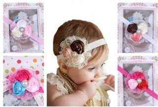 5pcs Different Colors Babys Headbands Girl's Headband Hair Bow Rose Flower HD488
