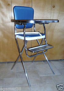 Vtg Retro Chrome Folding High Chair Vinyl Baby Feeding Navy Blue Excellent
