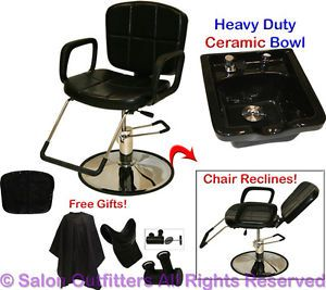 New Black Ceramic Shampoo Bowl Hydraulic Reclining Barber Chair Salon Equipment