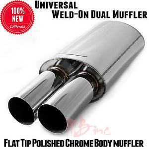 Exhaust Polished Chrome Muffler Double Dual Round Tip N1 Style 2 5 in 3 Outtyper