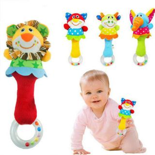 Lovely Baby Kids Soft Cow Model Handbells Rattles Handle Developmental Toy
