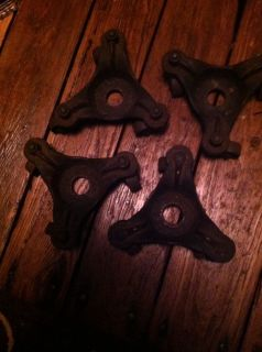 4 Antique Cast Iron 3 Wheel Casters Set Industrial Machine Age Dollies Free SHIP