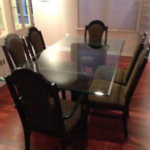 Dining Room Glass Top Table Chairs Set Black Lacquer Gold Trim NJ 08054