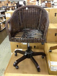 Pottery Barn Wicker Rattan Seagrass Wingate Brown Swivel Desk Office Chair $500