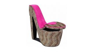 Leopard Print w Pink High Heel Shoe Chair Plus Hidden Storage Compartment