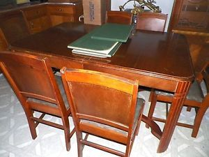 Antique 1940s Art Deco Dining Room Table Self STORING Leaf Stretcher Base Pads