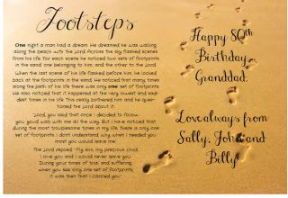 Personalised Footprints in the Sand Poem Gift ADD A MESSAGE Birthday Greetings