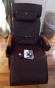 Homedics Destress Spa Recliner Massage Inversion Heat Chair Dark Brown New