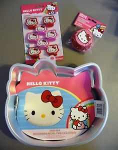 Lot Wilton Hello Kitty Birthday Cake Pan Cupcake Liners Toppers Party Supplies