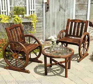 Classical Wagon Wheel Wooden 3 Piece Bistro Set Table Chairs