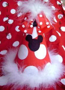 Custom Minnie Mouse Red Birthday Party Hat w Bow