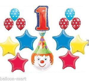 Clown Circus Party Balloons Birthday Supplies First 1st Red Blue Polka Dot