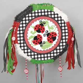 "18"" Lovely Ladybugs Birthday Baby Shower Drum Pull String Pinata Party Game"
