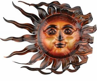 Sunswept Sun Face Wall Art Wind Blown Celestial Indoor Outdoor Home Garden 26""
