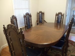 9 Piece Dining Room Set Solid Wood Beautiful Asian Oriental Detailing