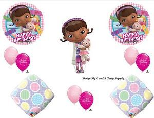 Doc McStuffins Happy Birthday Party Balloons Decorations Supplies Gingham Pink