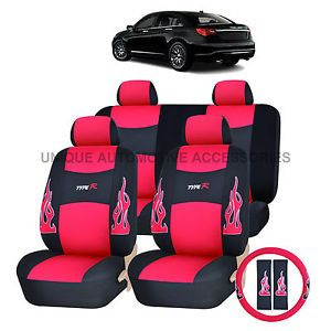 Chrysler 200 300 Red Flames Semi Custom Complete Seat Covers Steering 13pc Set